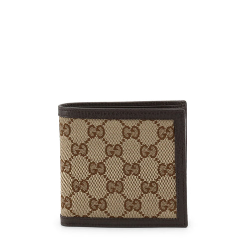 Gucci Mens Dollar Calf Original Beige/Brown GG Canvas Bifold Coin Wallet 150413 at_Queen_Bee_of_Beverly_Hills