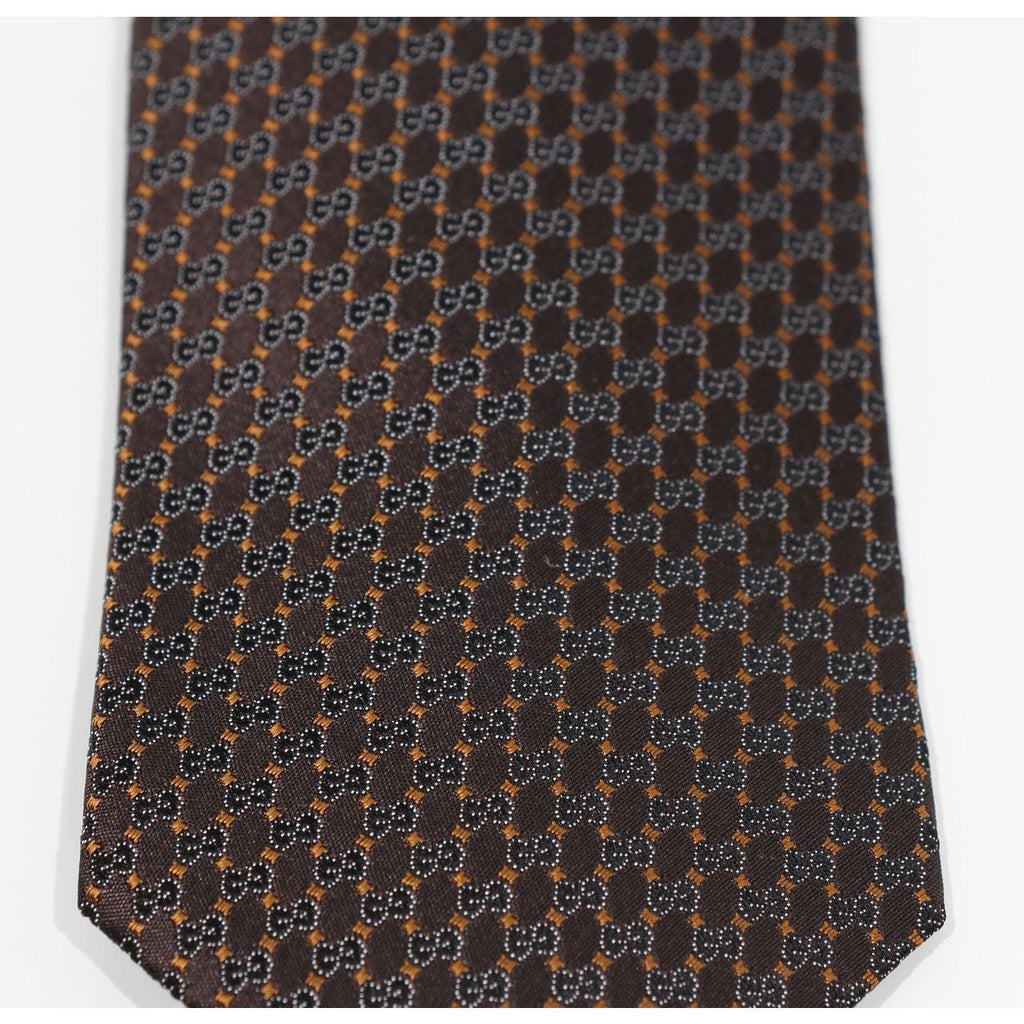 Gucci Mens Interlocking Gg Woven 100% Silk Tie, Brown 349391 at_Queen_Bee_of_Beverly_Hills