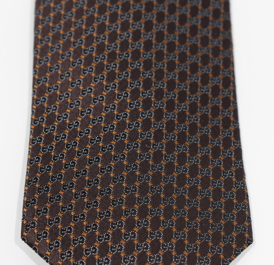 Gucci Mens Interlocking Gg Woven Silk Tie Brown at_Queen_Bee_of_Beverly_Hills