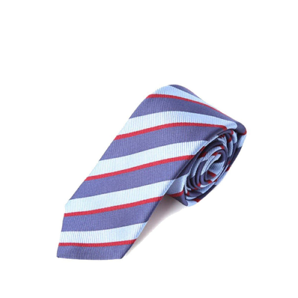 Gucci Mens Periwinkle Sky Blue Red Striped Pimentone Neck Tie 544621 at_Queen_Bee_of_Beverly_Hills