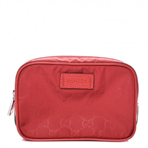 Gucci Mens Small Vibrant Red Pouch GG Logo Print Zip Around Guccissima Nylon Bag 510341 at_Queen_Bee_of_Beverly_Hills