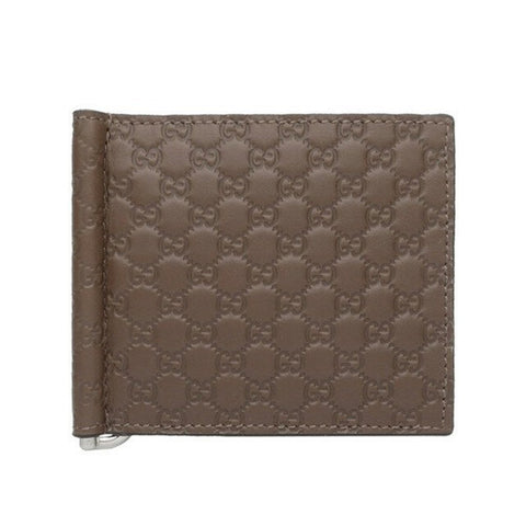 Gucci Mens Womens Microguccissima GG Acero Brown Soft Leather Money Clip Card Case 544478 at_Queen_Bee_of_Beverly_Hills