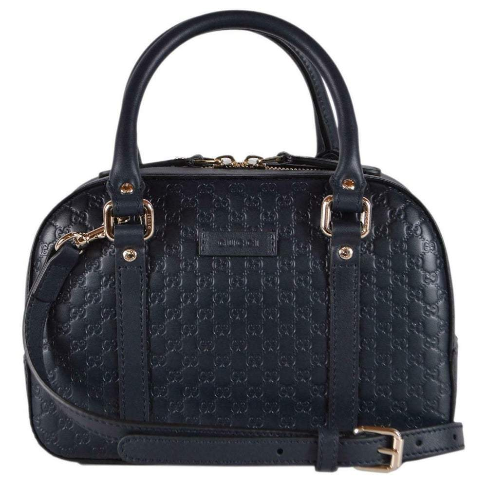 Gucci Micro Guccissima Soft Dollar Calf Maragaux Navy Blue Zip Top Rectangle Bag 510289 at_Queen_Bee_of_Beverly_Hills