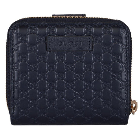 Gucci Microguccissima GG Logo Midnight Blue Zipper Leather Wallet 449395 at_Queen_Bee_of_Beverly_Hills