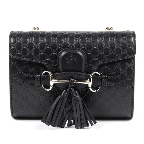 Gucci Microguccissima Soft Nero Black Leather Embossed Crossbody O Bag 449636 at_Queen_Bee_of_Beverly_Hills