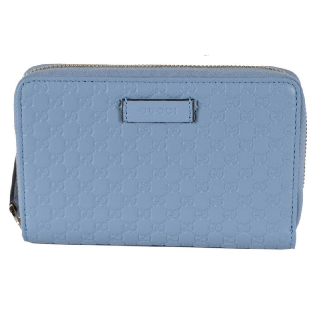 Gucci Mineral Blue Microguccissima Embossed GG Leather Zip Around Wallet 449423 at_Queen_Bee_of_Beverly_Hills