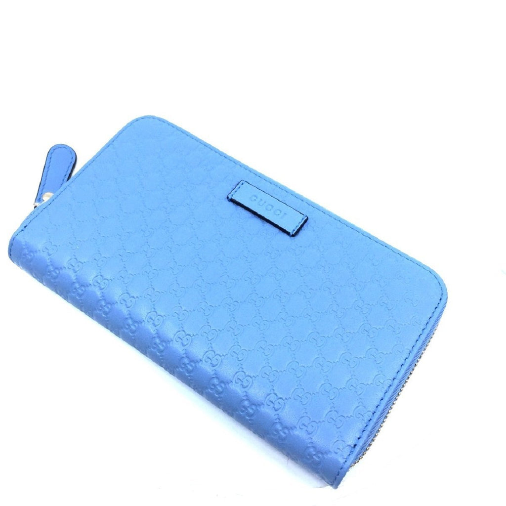 Gucci Mineral Blue Microguccissima GG Zip Around Leather Wallet 449391 at_Queen_Bee_of_Beverly_Hills
