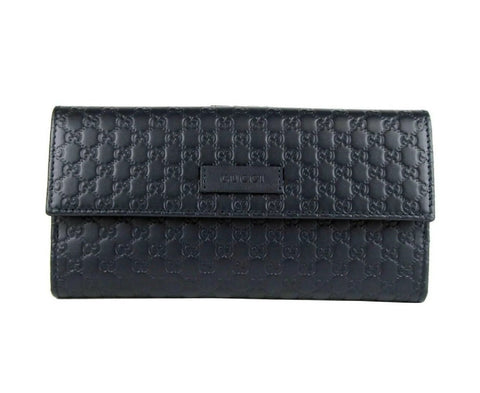 Gucci Navy Blue GG Leather Continental Flap Wallet 305282 at_Queen_Bee_of_Beverly_Hills