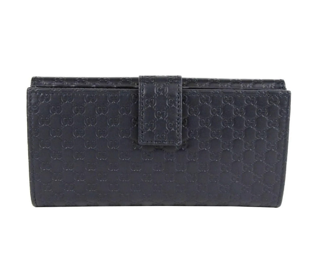 Gucci Navy Blue GG Leather Continental Flap Wallet 449393 at_Queen_Bee_of_Beverly_Hills