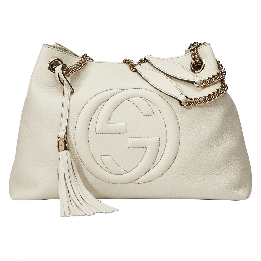 Gucci Off- White Soho GG Leather Chain Shoulder Bag 308982 at_Queen_Bee_of_Beverly_Hills