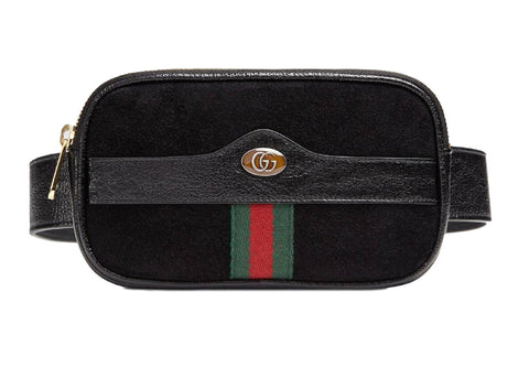 Gucci Ophidia Belt Bag Signature Web Stripe Black Suede 519308 Small at_Queen_Bee_of_Beverly_Hills