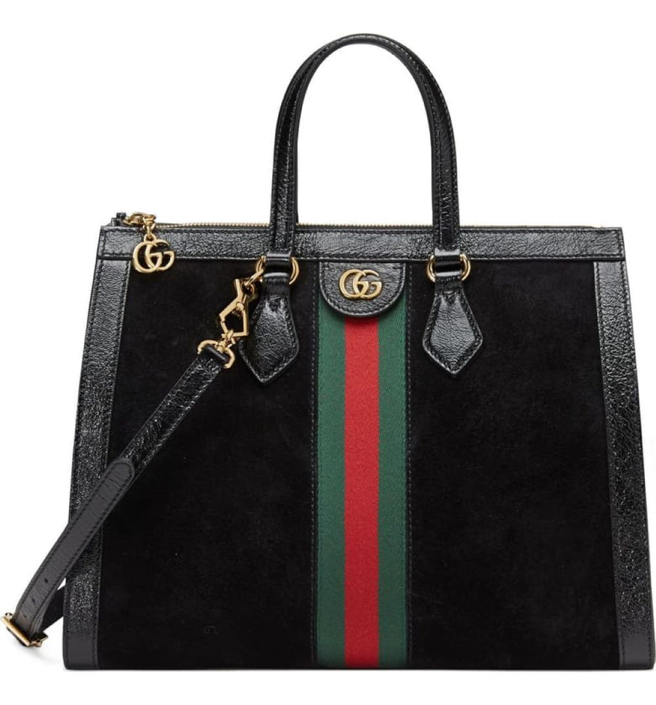 Gucci Ophidia Black Suede Web Stripe Medium Tote Crossbody Handbag 524537 at_Queen_Bee_of_Beverly_Hills