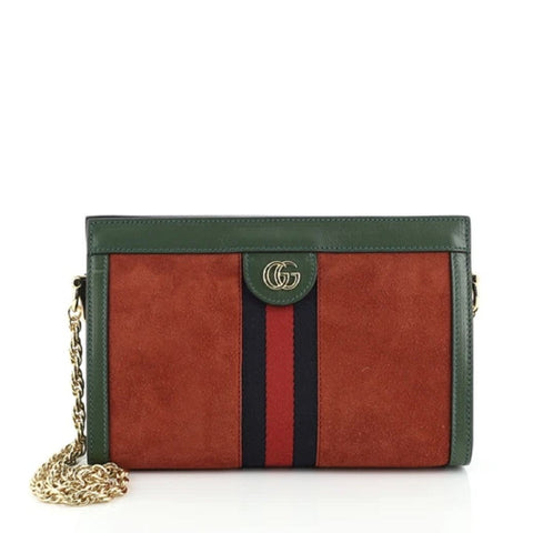 Gucci Ophidia Red Small Suede Web Stripe Green Leather Crossbody Handbag 503877 at_Queen_Bee_of_Beverly_Hills