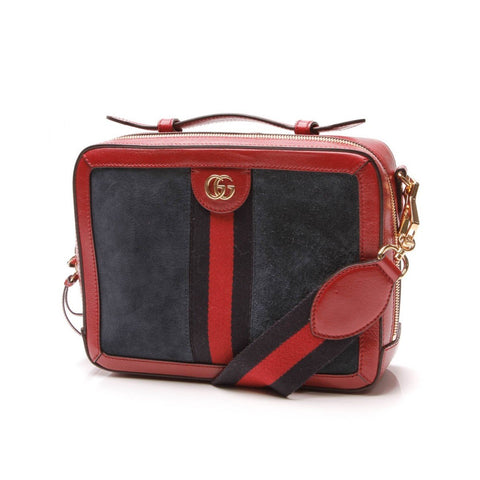 Gucci Ophidia Suede Blue Red Web Stripe Zip Around Leather Shoulder Bag 550622 at_Queen_Bee_of_Beverly_Hills