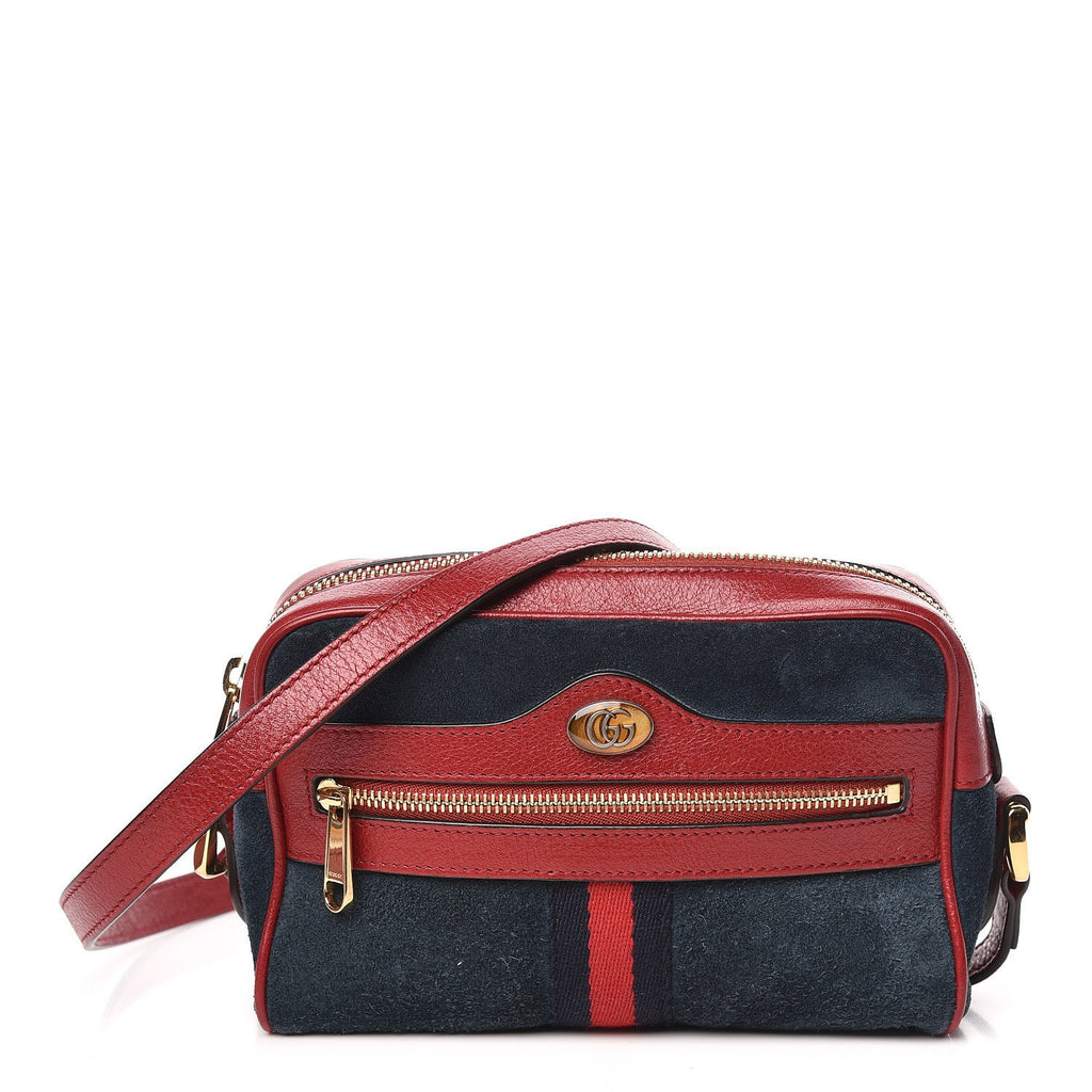 Gucci Ophidia Suede Patent Web Mini  Shoulder Bag Blue Red 547465 at_Queen_Bee_of_Beverly_Hills