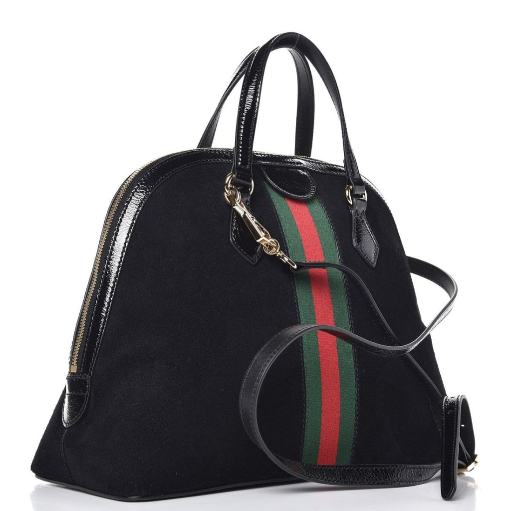 Gucci Ophidia Suede Web Stripe Black Medium Top Handle Bag 524533 at_Queen_Bee_of_Beverly_Hills