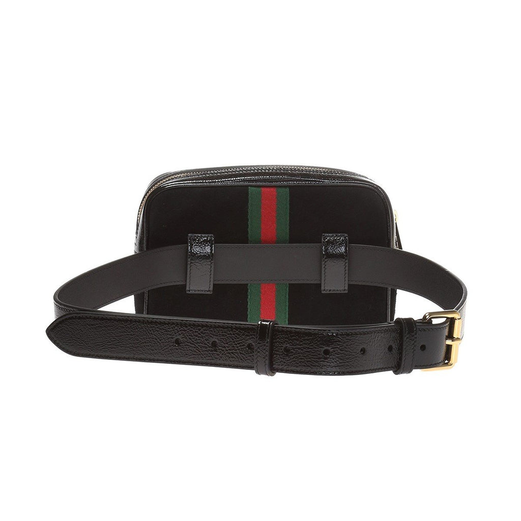 Gucci Ophidia Suede Web Stripe Black Small Belt Bag 517076 Size 95 at_Queen_Bee_of_Beverly_Hills