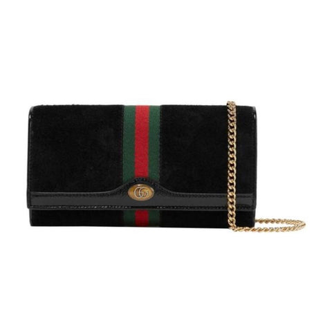 Gucci Ophidia Suede Web Stripe Black Wallet on Chain 546592 at_Queen_Bee_of_Beverly_Hills