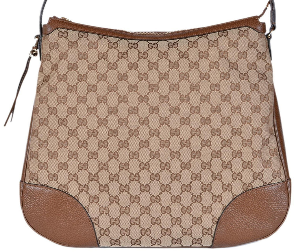 Gucci Original GG Bree Canvas Leather Hobo Bag (Beige/Brown) 449244 at_Queen_Bee_of_Beverly_Hills