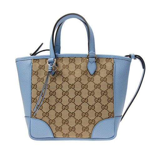 Gucci Original GG Calf Leather Beige Mineral Blue Tote Cross Body 449241 at_Queen_Bee_of_Beverly_Hills