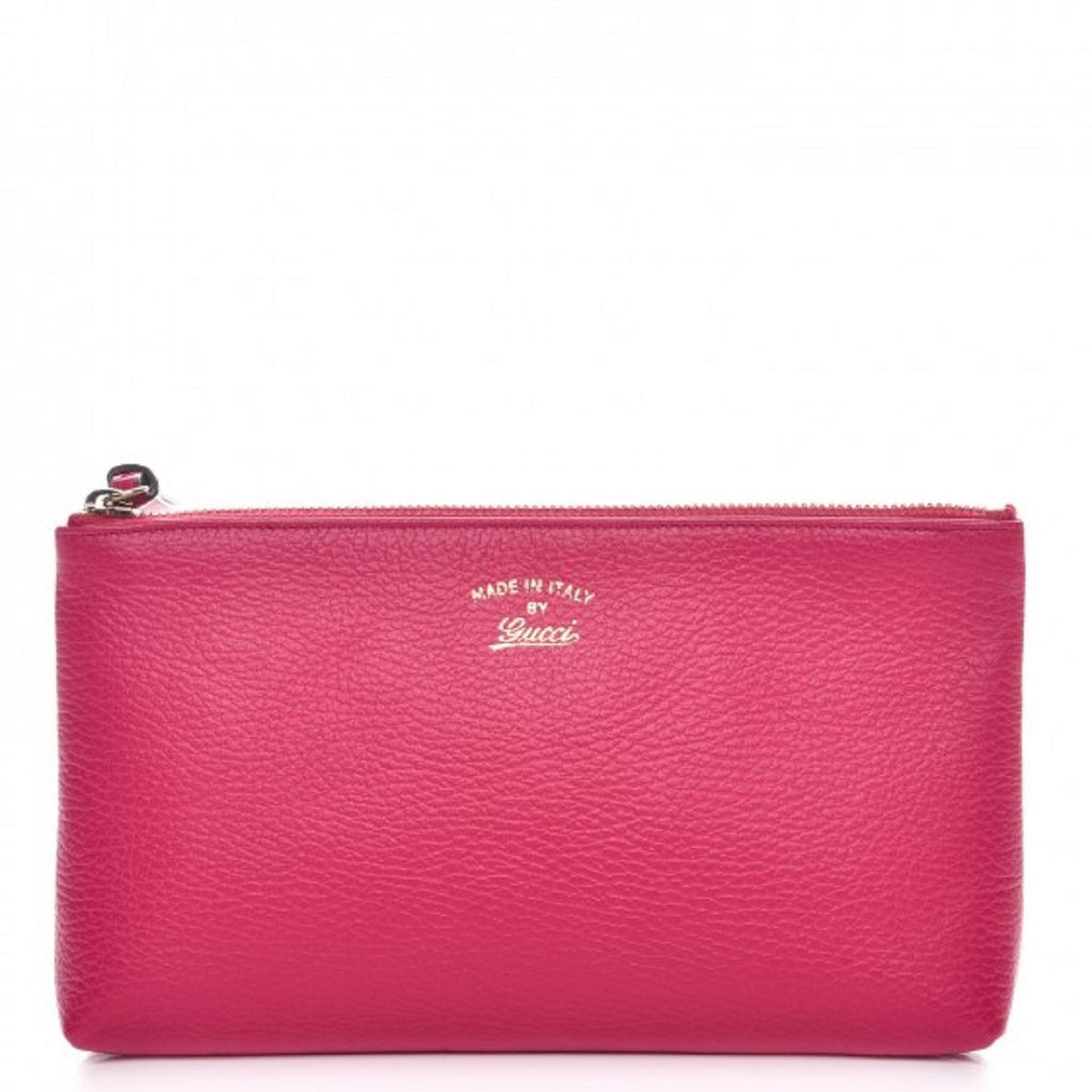 Gucci Pink Grained Calf Italian Leather Trademark-Embossed Swing Clutch 368881 at_Queen_Bee_of_Beverly_Hills
