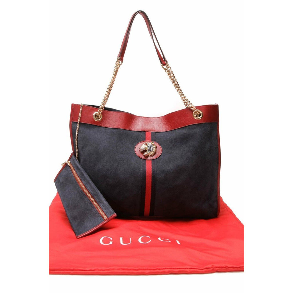 Gucci Rajah Blue Suede Leather Medium Web Stripe Tiger Head Chain Tote Bag 537219 at_Queen_Bee_of_Beverly_Hills