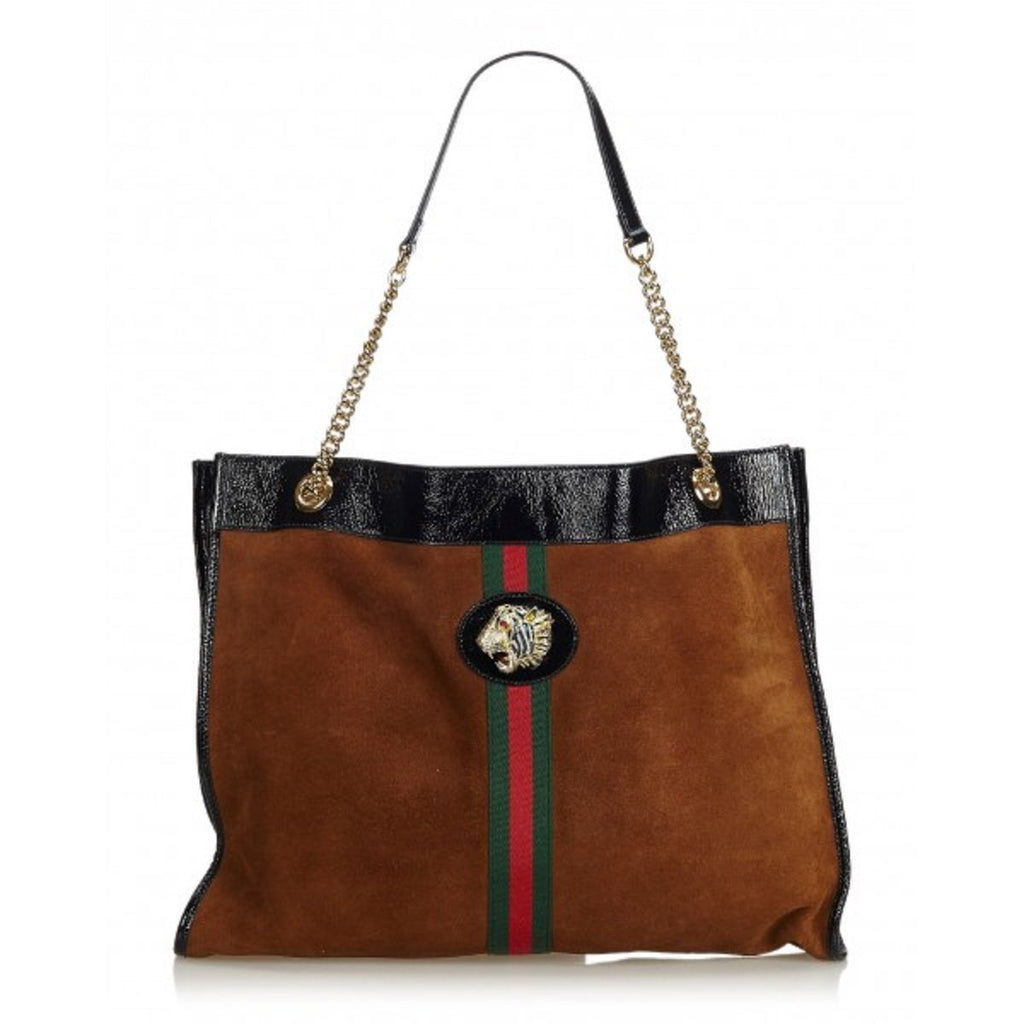 Gucci Rajah Brown Suede Web Stripe Tiger Large Patent Leather Tote Bag 537218 at_Queen_Bee_of_Beverly_Hills