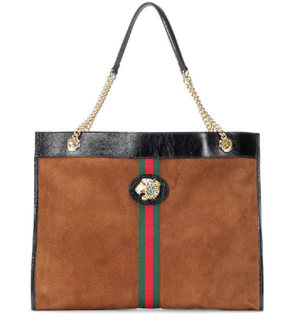 Gucci Rajah Brown Suede Web Stripe Tiger Med Leather Tote Bag 537219 at_Queen_Bee_of_Beverly_Hills