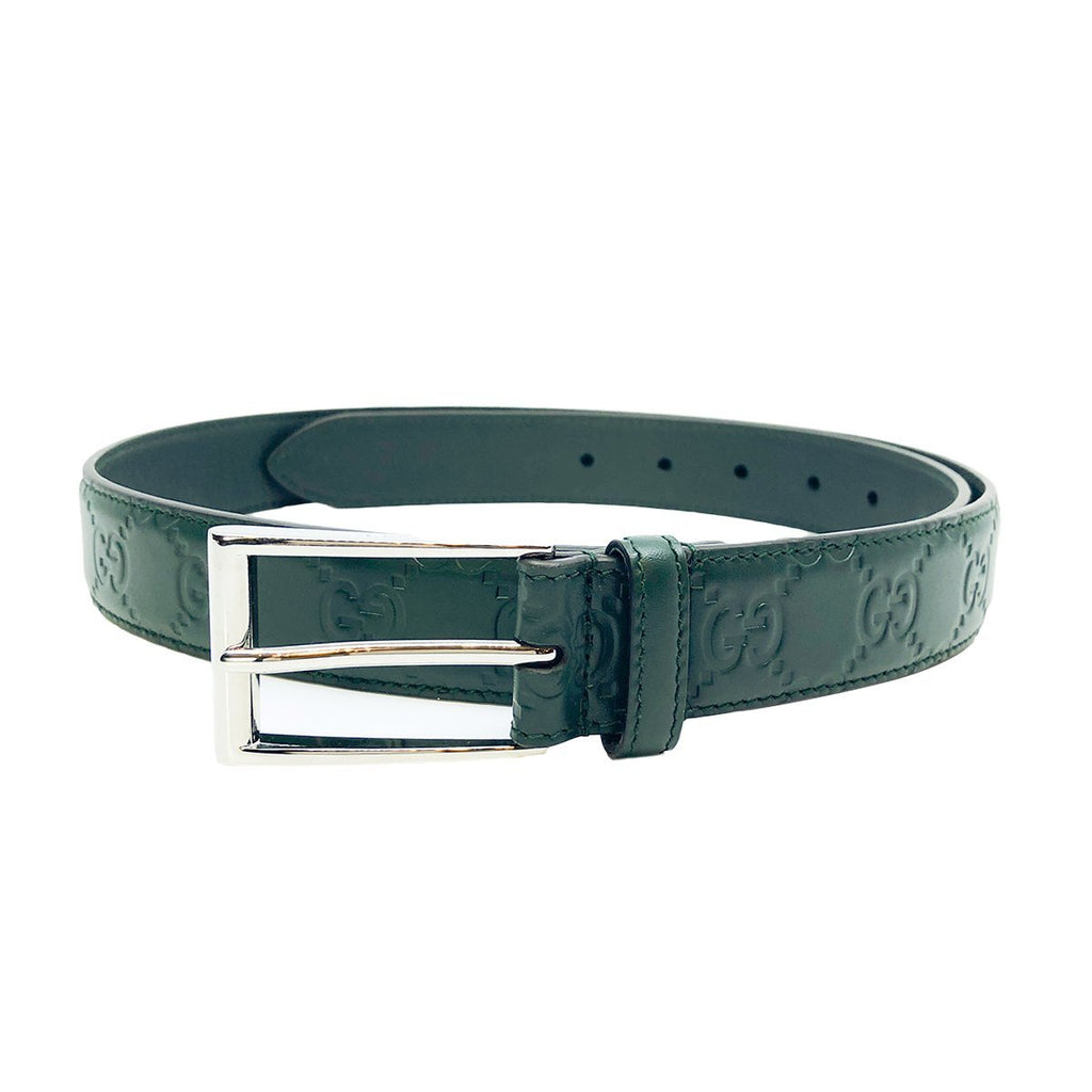 Gucci Signature Dark Green Bottle GG Logo Guccissima Calf Leather Belt 429028 Size 90/36 at_Queen_Bee_of_Beverly_Hills