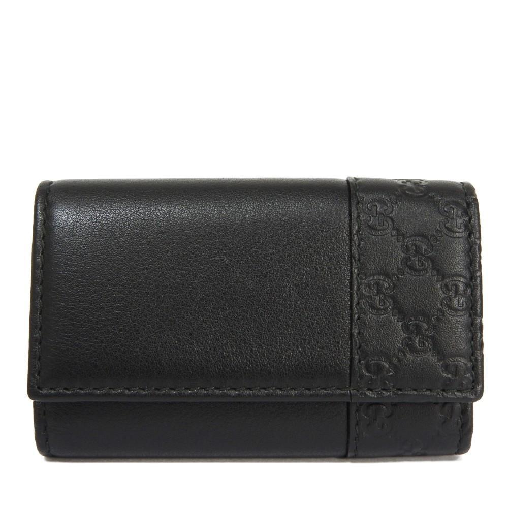 Gucci Signature Mens Nero Black Microguccissima GG Calf Leather Key Case 256433 at_Queen_Bee_of_Beverly_Hills