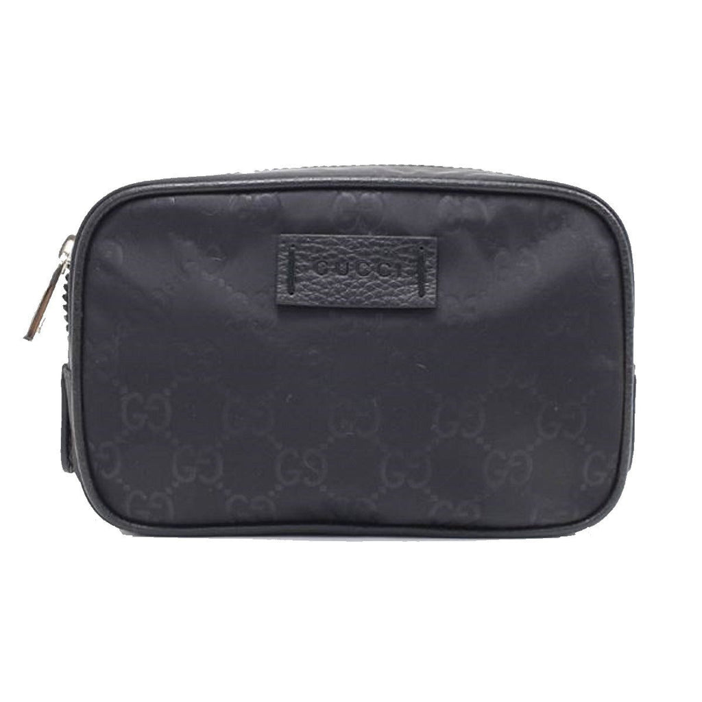 Gucci Small Black GG Logo Nylon Guccissima Toiletry Bag Travel Case 510341 at_Queen_Bee_of_Beverly_Hills
