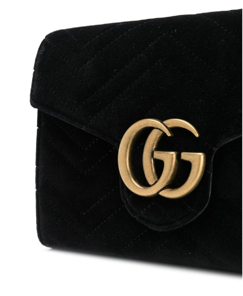 Gucci Small Black Velvet Matelasse GG Marmont Chain Wallet Crossbody 474575 at_Queen_Bee_of_Beverly_Hills