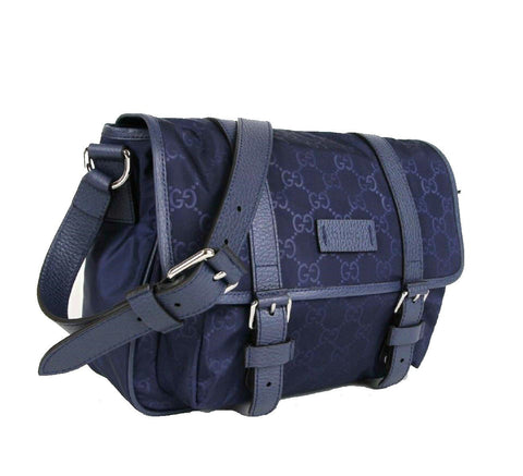 Gucci Small GG Logo Guccissima Navy Blue Messenger Nylon Leather Trim Travel Bag 510335 at_Queen_Bee_of_Beverly_Hills