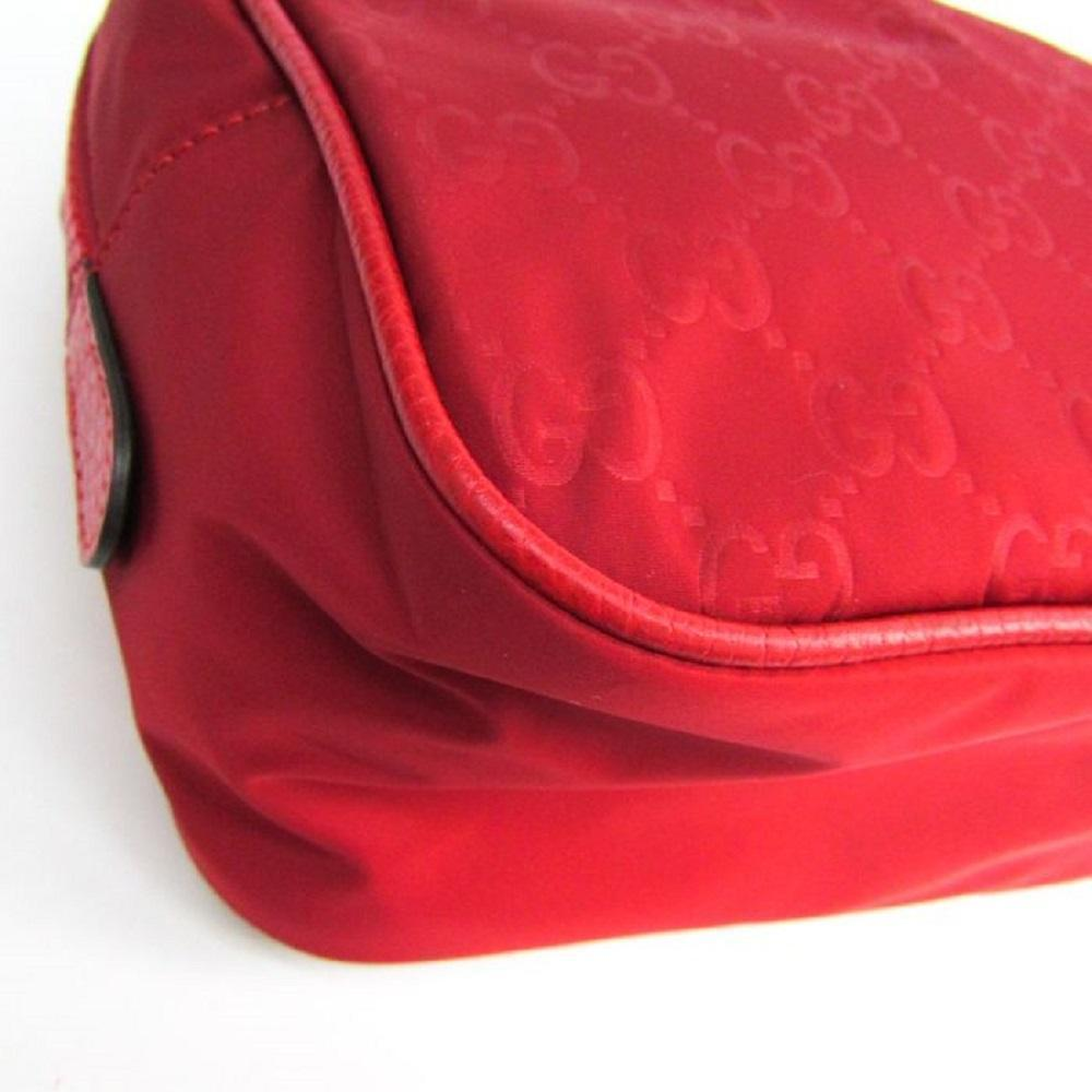 Gucci Small Red Pouch GG Logo Nylon Travel Toiletry Bag 510341 at_Queen_Bee_of_Beverly_Hills