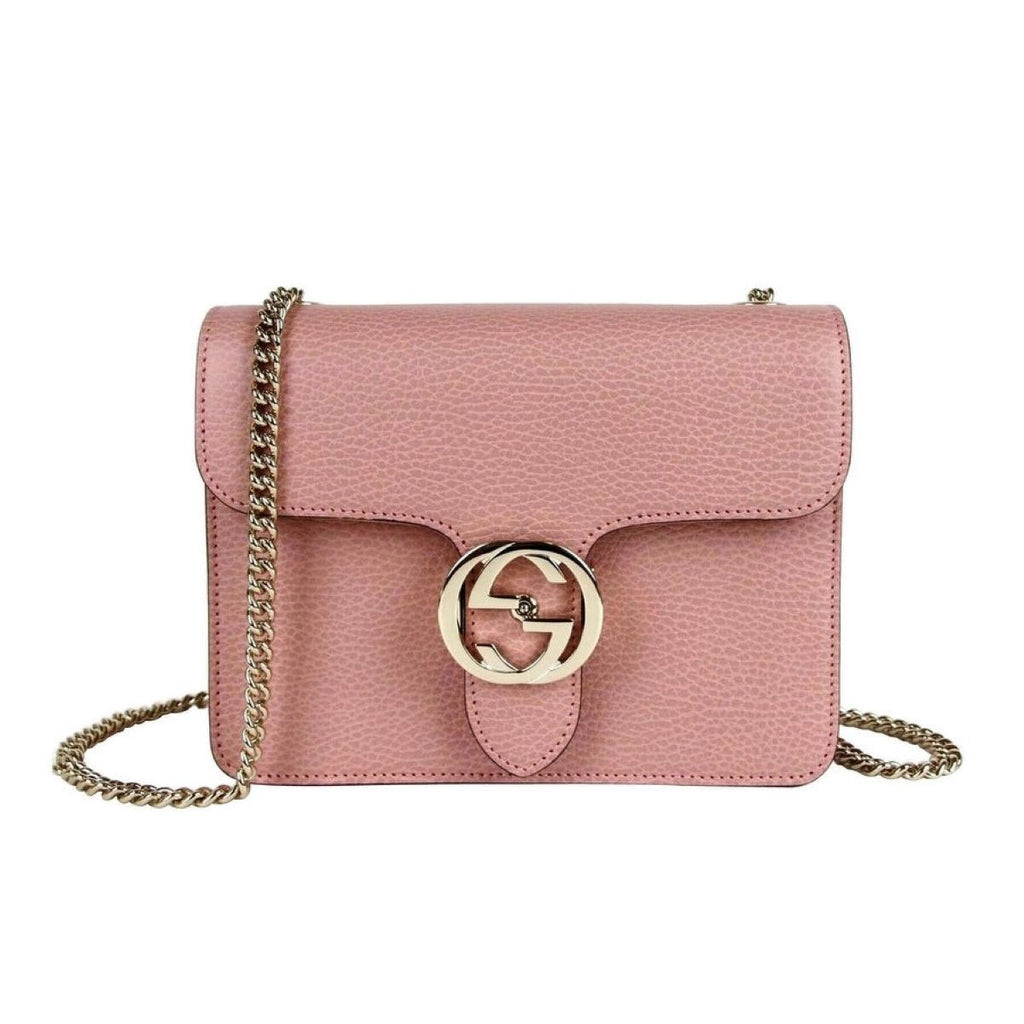 Gucci Soft Pink Pebbled Leather Silver GG Logo Chain Strap Crossbody 510304 at_Queen_Bee_of_Beverly_Hills