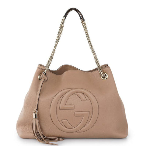 Gucci Soho Beige Cellarius GG Logo Leather Chain Bag 536196 at_Queen_Bee_of_Beverly_Hills