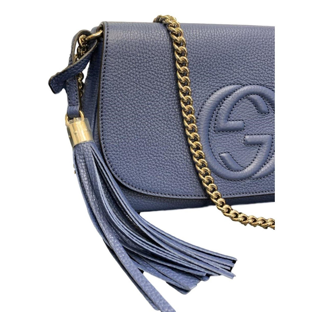 Gucci Soho Disco Blue Caspian Signature Collection w/ Light Fine Gold Chain 536224 at_Queen_Bee_of_Beverly_Hills