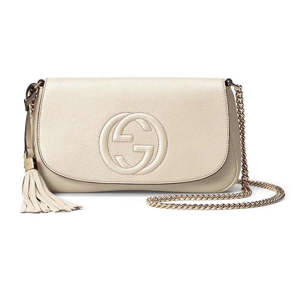 Gucci Soho Disco Ivory Signature Collection w/ Light Fine Gold Chain 536224 at_Queen_Bee_of_Beverly_Hills