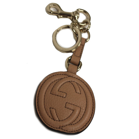 Gucci 'Soho'  GG Camelia Beige Tan Leather Key Chain Charm 282641 at_Queen_Bee_of_Beverly_Hills
