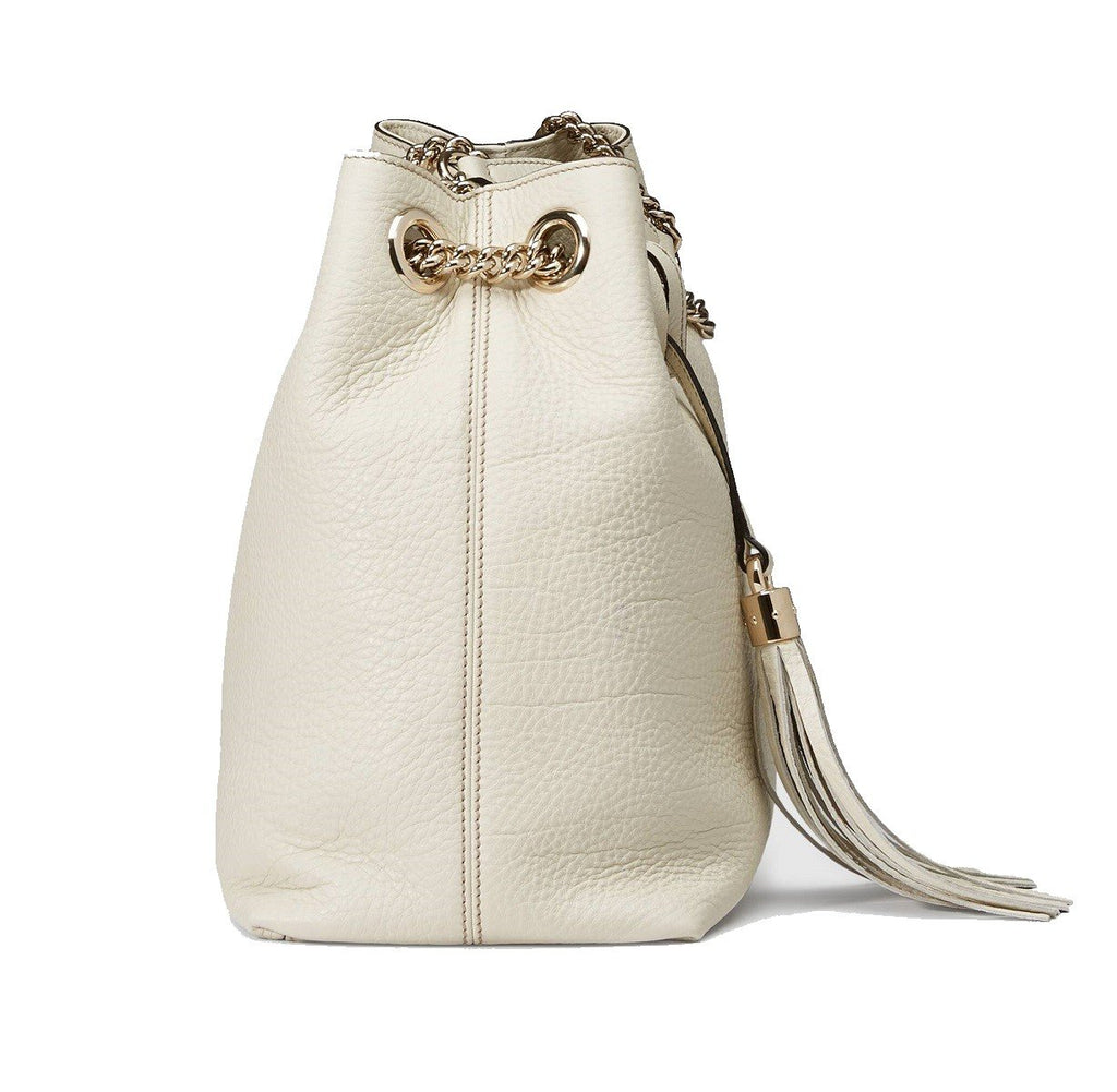 Gucci Soho GG Ivory Leather Chain Shoulder Bag 536196 at_Queen_Bee_of_Beverly_Hills