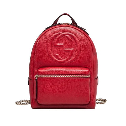 Gucci Soho GG Logo Red Leather Backpack Chain Straps 536192 at_Queen_Bee_of_Beverly_Hills