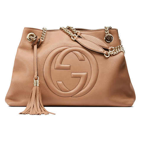 Gucci Soho Interlocking G Beige Leather Chain Shoulder Bag 308982 at_Queen_Bee_of_Beverly_Hills