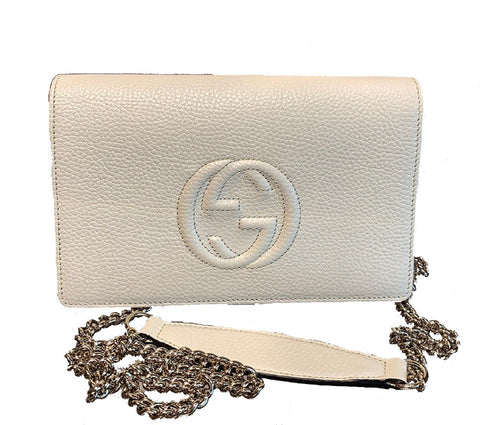 Gucci Soho Wallet on Chain Ivory Leather Cross Body Bag 598211 at_Queen_Bee_of_Beverly_Hills