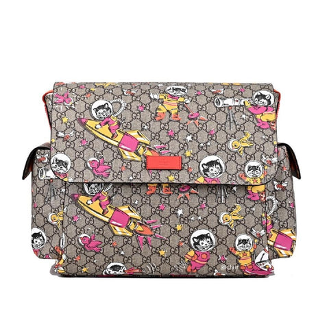 Gucci Space Cats Birds GG Supreme Canvas Diaper Bag Baby Beige 211131-204991 at_Queen_Bee_of_Beverly_Hills