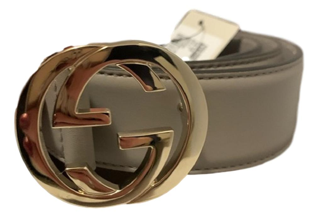 Gucci Storm Grey Silver Toned Hardware Interlocking G Buckle Belt 546386 100/40 at_Queen_Bee_of_Beverly_Hills