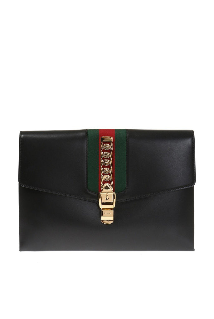 Gucci Sylvie Maxi Clutch Black Leather Portfolio Document Holder 477630 at_Queen_Bee_of_Beverly_Hills