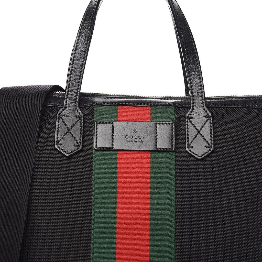 Gucci Techno Canvas Web Stripe Black Large Tote 619751 at_Queen_Bee_of_Beverly_Hills