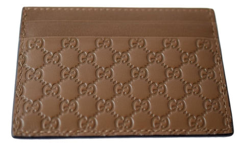 Gucci Unisex Acero Brown Micro-Guccissima GG Small Card Case 262837 at_Queen_Bee_of_Beverly_Hills