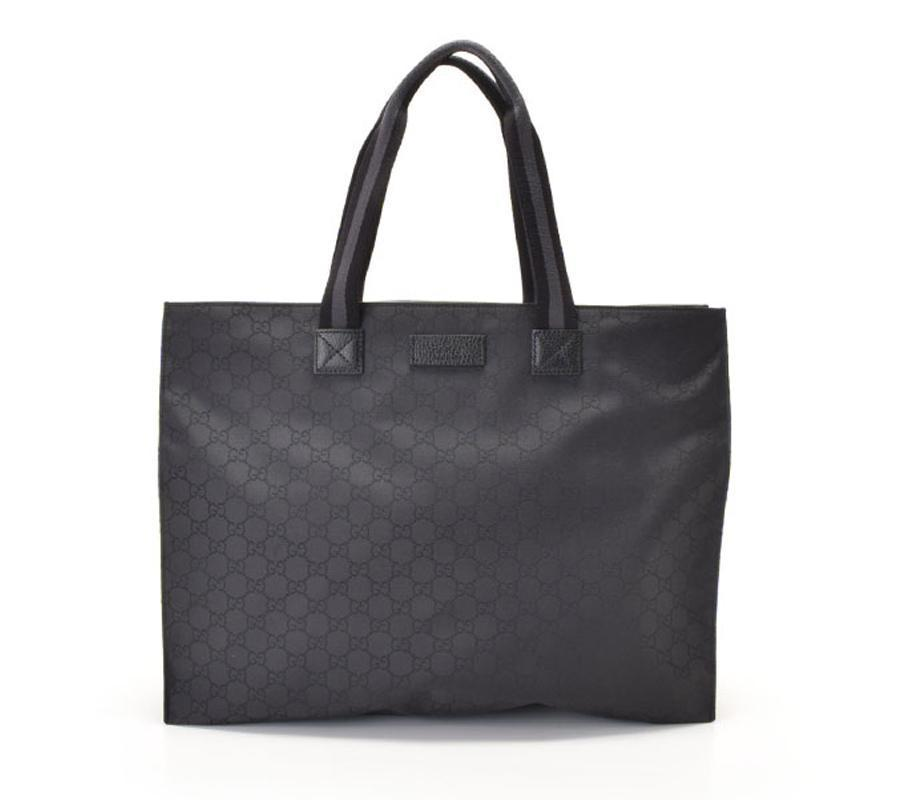 Gucci Unisex Black GG Nylon Canvas Web Viaggio Collection Tote Bag 449176 at_Queen_Bee_of_Beverly_Hills