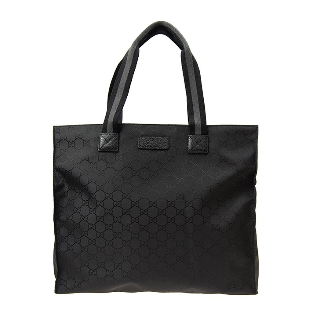 Gucci Unisex Black GG Nylon Canvas Web Viaggio Collection Tote Bag 449178 at_Queen_Bee_of_Beverly_Hills